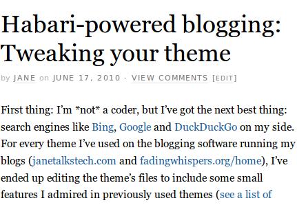 Habari-powered blogging: Tweaking your theme