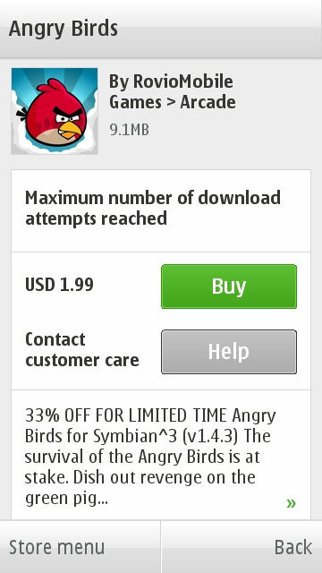 Blocked from Downloading Angry Birds on Ovi Store