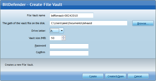 BitDefender File Vault Creation