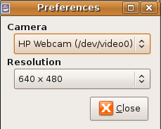 Ubuntu Cheese Webcam preferences