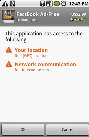 Factbook for Android Permissions