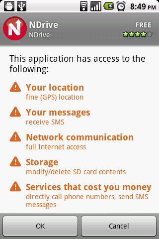 Ndrive for Android permissions