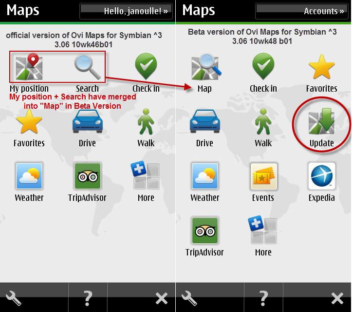 Ovi Maps Release vs Ovi Maps Beta