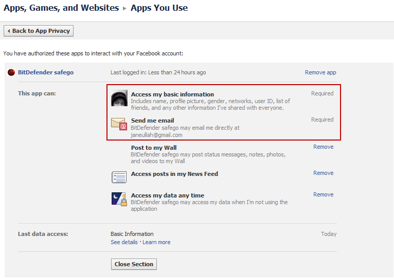 BitDefender Safego Facebook Permissions Requested