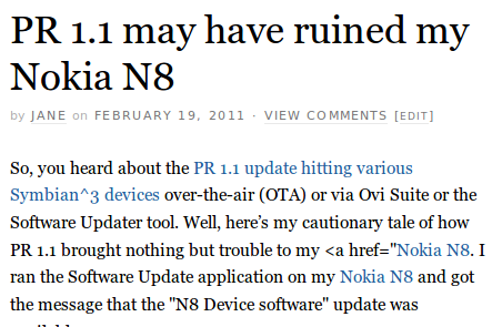 PR 1.1 may have ruined my Nokia N8